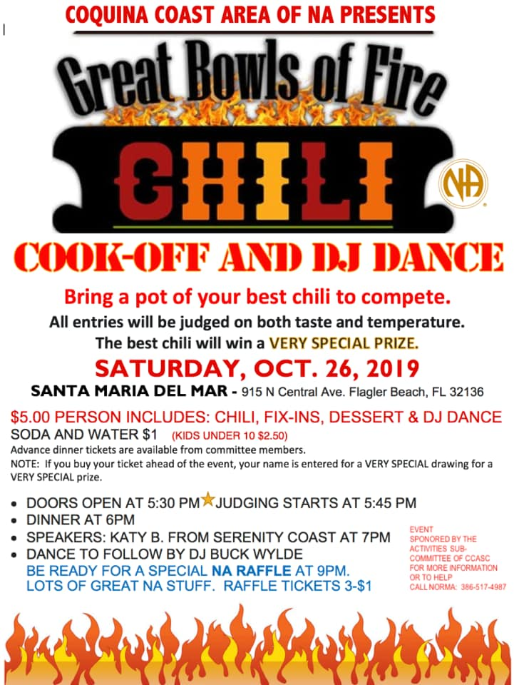 Coquina Coast Area of NA - Great Bowls of Fire Chill Cook-Off @ Santa Maria Del Mar | Flagler Beach | Florida | United States