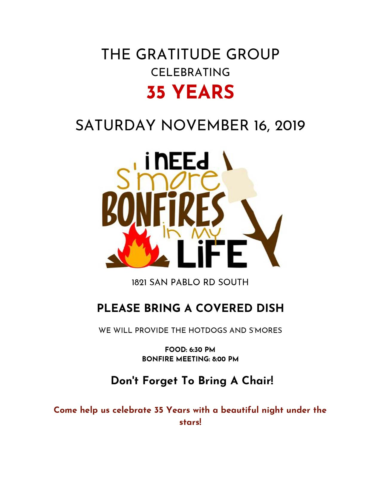 Gratitude 35 Years Bonfire Celebration @ Jacksonville | Florida | United States