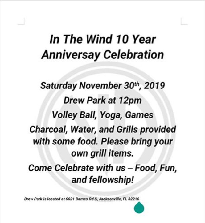 In the Wind - 10 Year Anniversary Celebration @ Drew Park | Jacksonville | Florida | United States