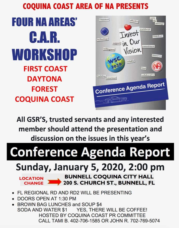 Coquina Coast Area Presents - Four Area CAR Workshop @ Bunnell | Florida | United States