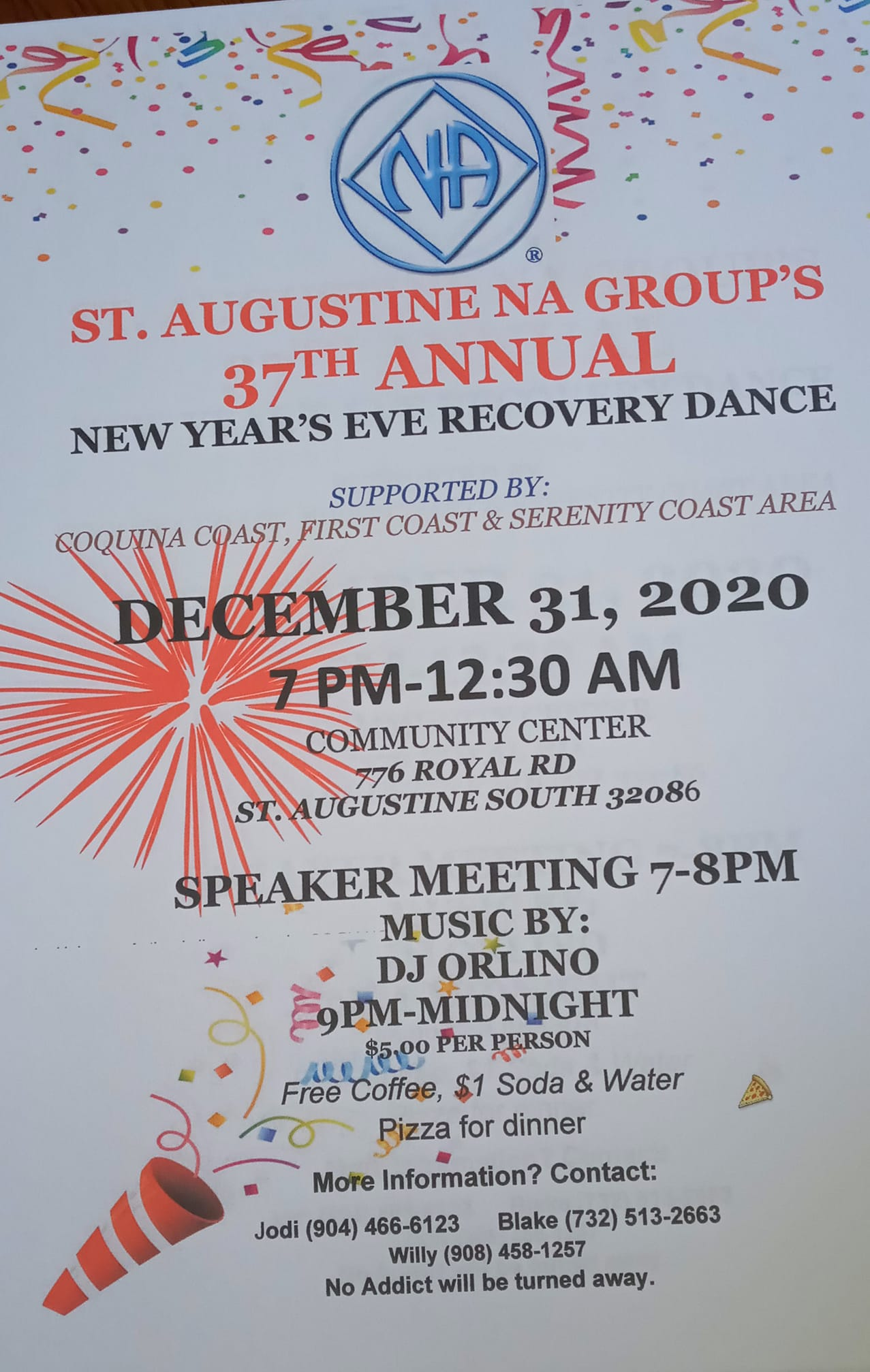 St Augustine NA Group's 37th Annual New Year's Eve Recovery Dance @ Community Center | St. Augustine | Florida | United States